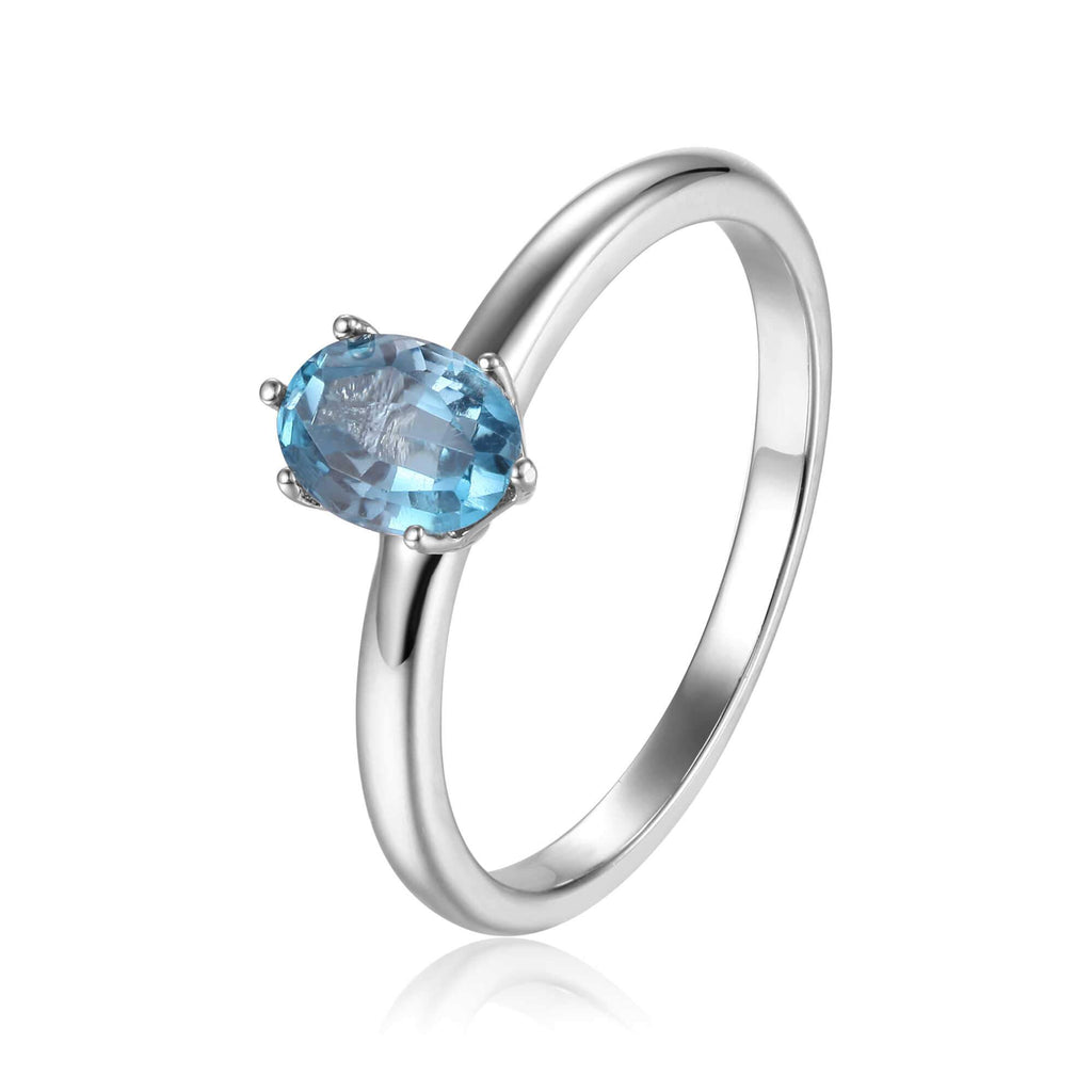 Rose Gold Plated Oval Shaped Blue Zircon Solitaire Ring