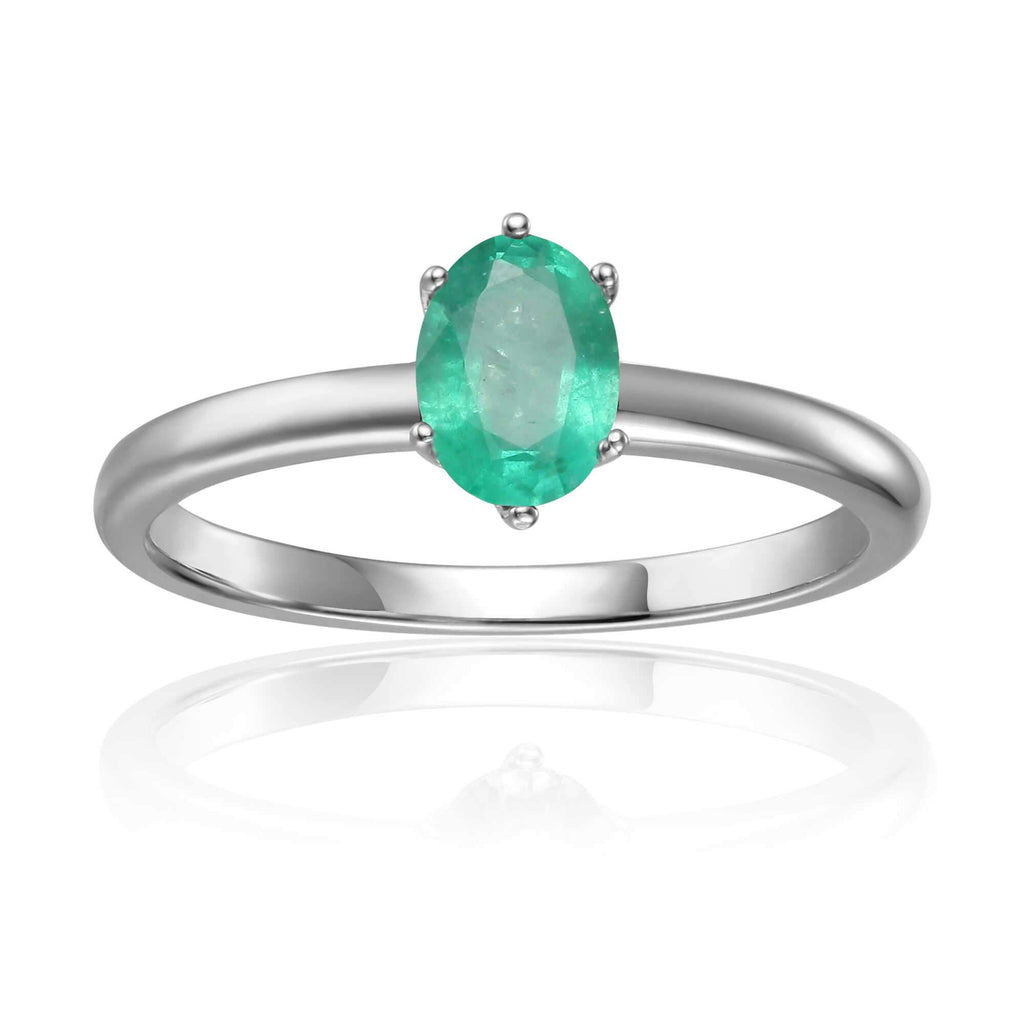 Rose Gold Plated Oval Shaped Genuine Green Emerald Solitaire Ring: