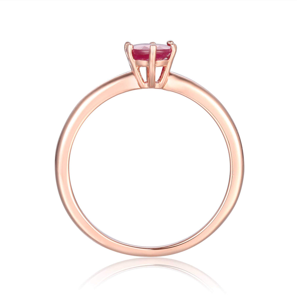 Rose Gold Plated Oval Shaped Genuine Ruby Solitaire Ring