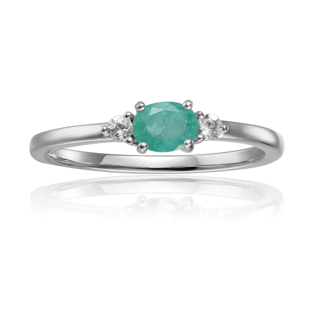 Rose Gold Plated Oval Shaped Genuine Green Emerald Dainty Ring