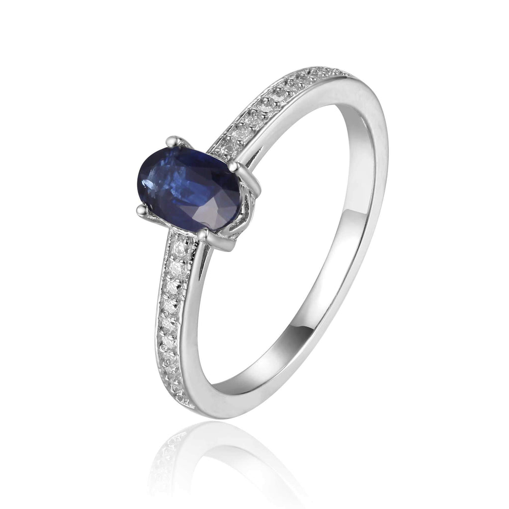 Sterling Silver Oval Shaped Genuine Blue Sapphire Solitaire Ring