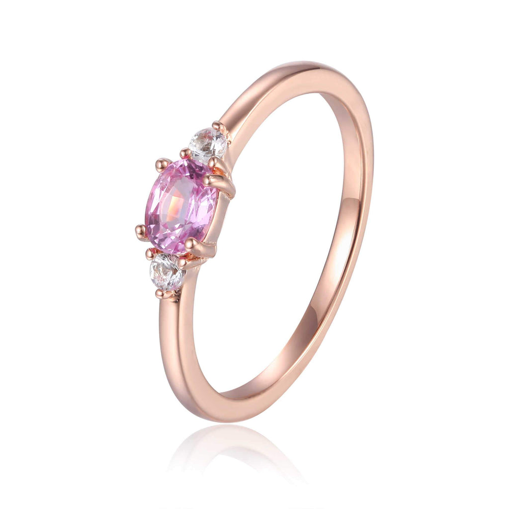 ose Gold Plated Oval Shaped Genuine Pink Sapphire Dainty Ring: