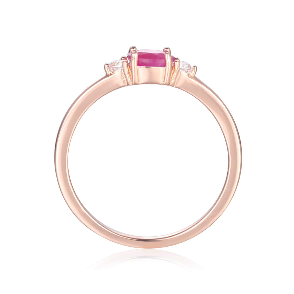 Rose Gold Plated Oval Shaped Genuine Ruby Dainty Ring: