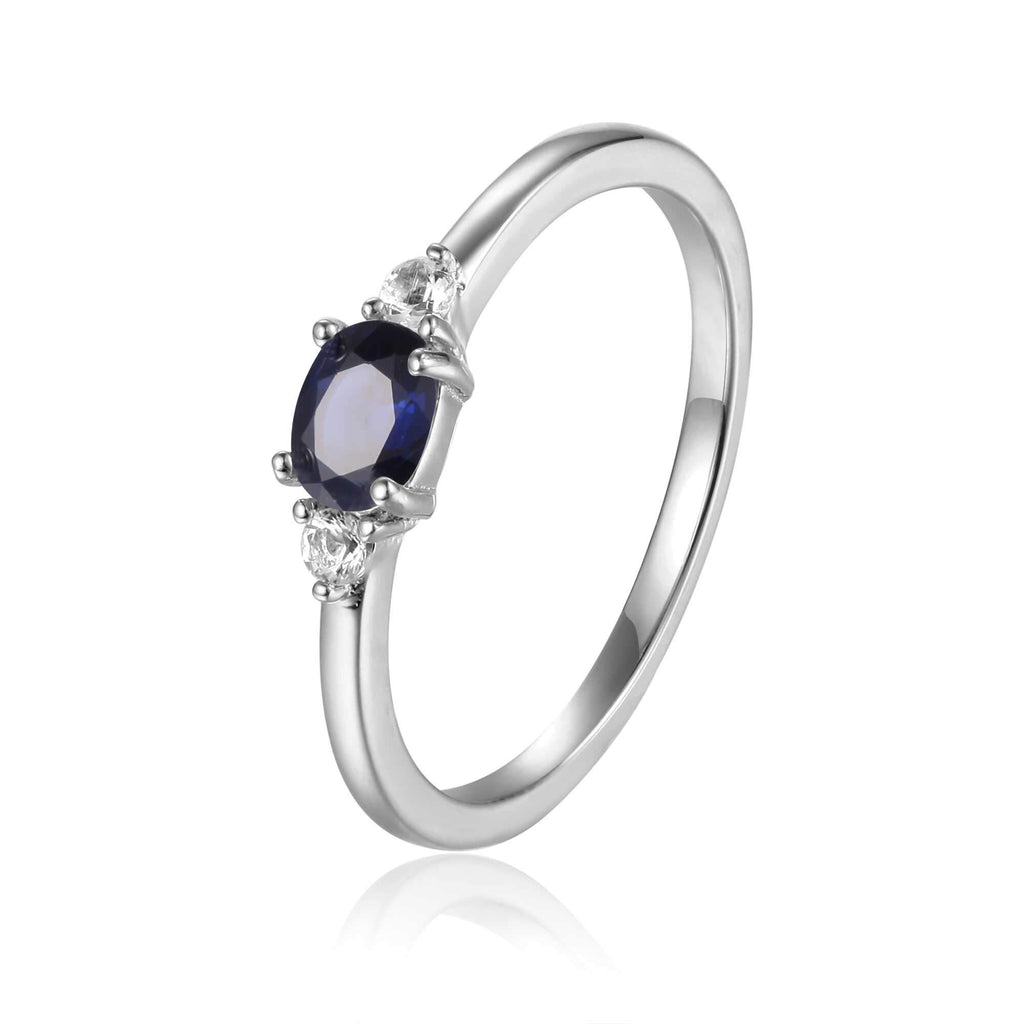 Rose Gold Plated Oval Shaped Genuine Blue Sapphire Dainty Ring
