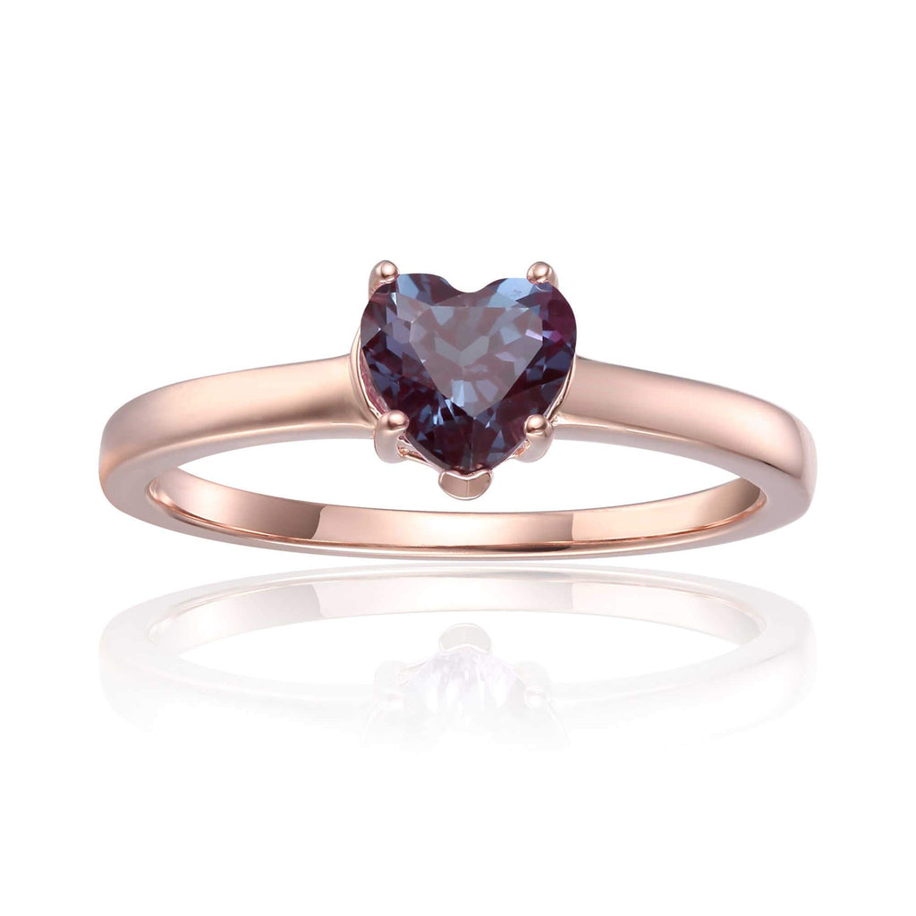 Sterling Silver Heart Shaped Created Alexandrite Solitaire Ring