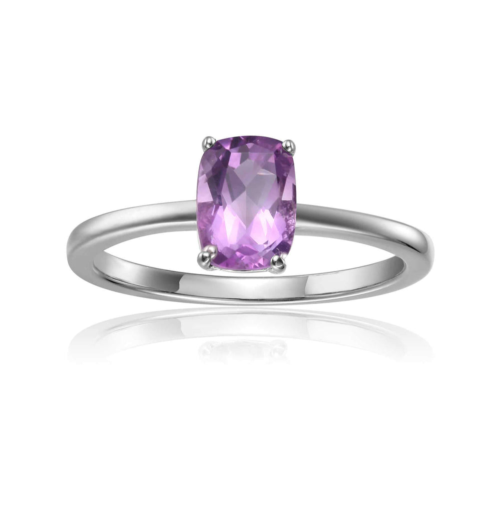 Sterling Silver Ocatogon Cut Purple Amethyst Solitaire Ring