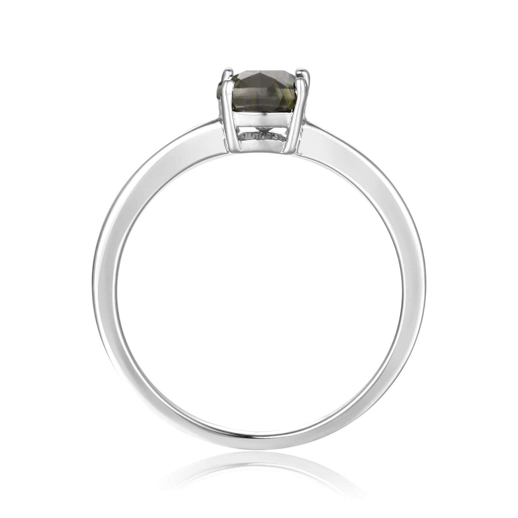 Sterling Silver Ocatogon Cut Green Tournaline Solitaire Ring