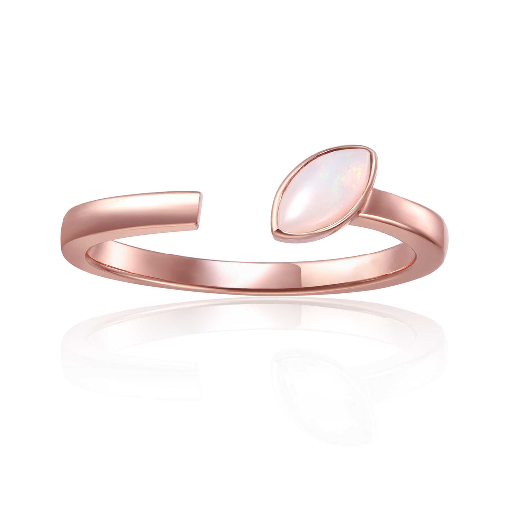 October Birthstone Ring, Opal Simple Ring, Solitaire Ring for Women