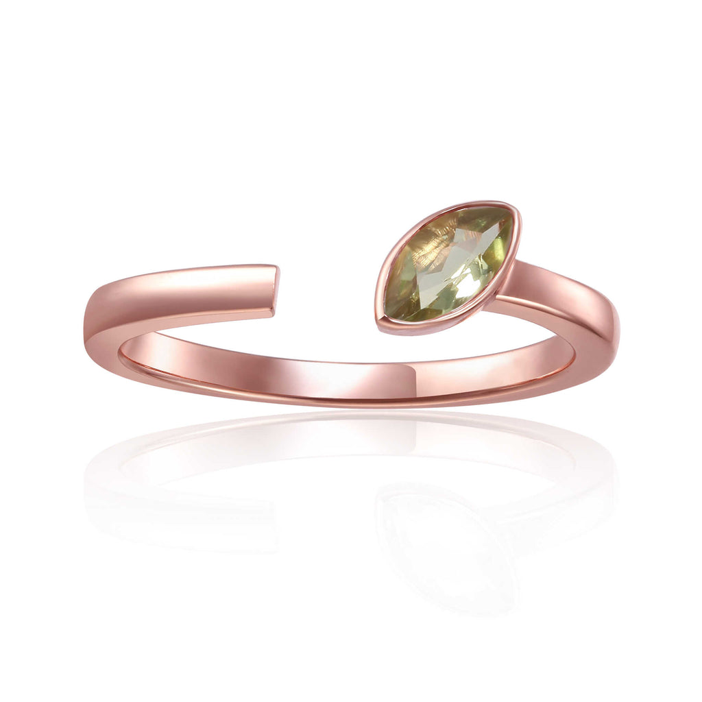 August Birthstone Ring, Peridot Simple Ring, Solitaire Ring for Women