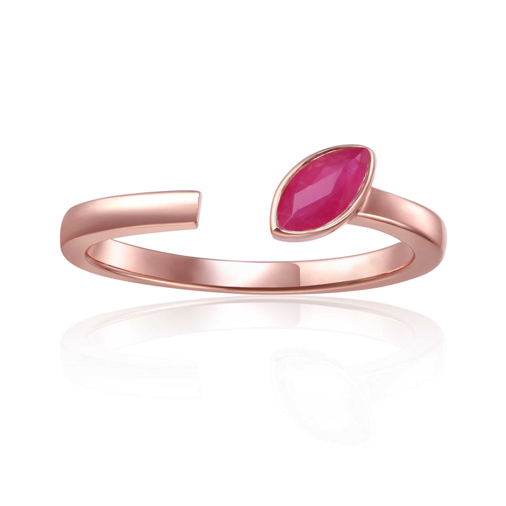 July Birthstone Ring, Ruby Simple Ring, Solitaire Ring for Women
