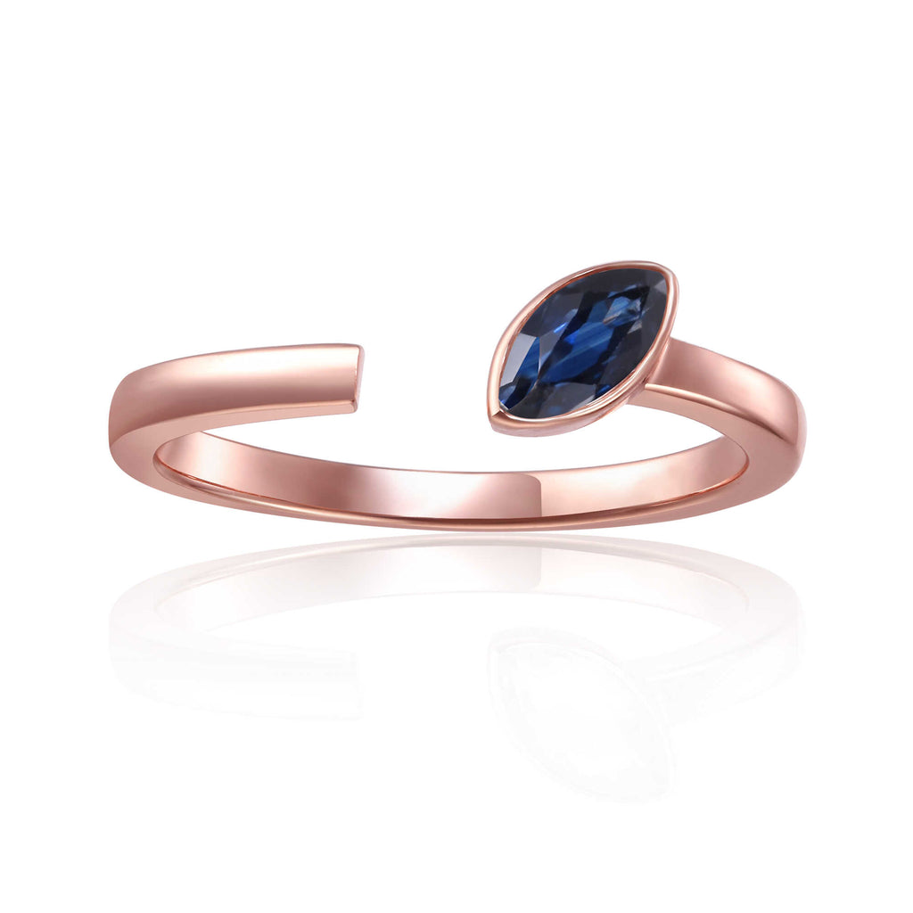 September Birthstone Ring, Sapphire Simple Ring, Solitaire Ring for Women