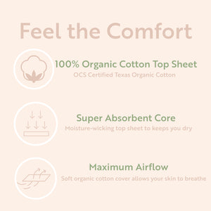 Organic Cotton Panty Liners - Regular 6 Inch / 50 Count