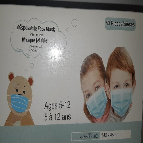 Child Size 3-Ply Disposable Face Masks (Non Medical), 50/pkg