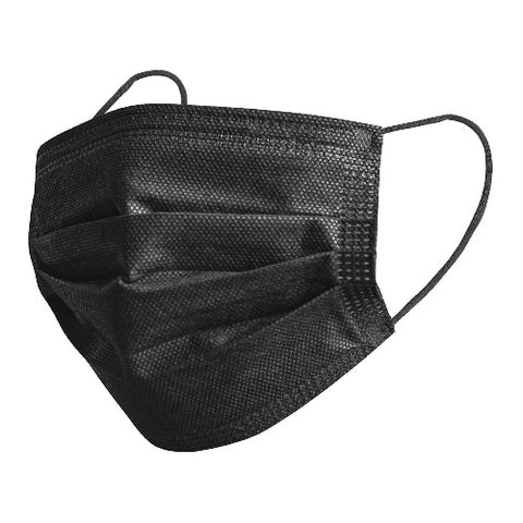 Black Disposable Ear Loop Face Masks (non medical), 50/pkg