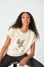 BIBI LARGE EMBROIDERED LOGO TEE - IVORY