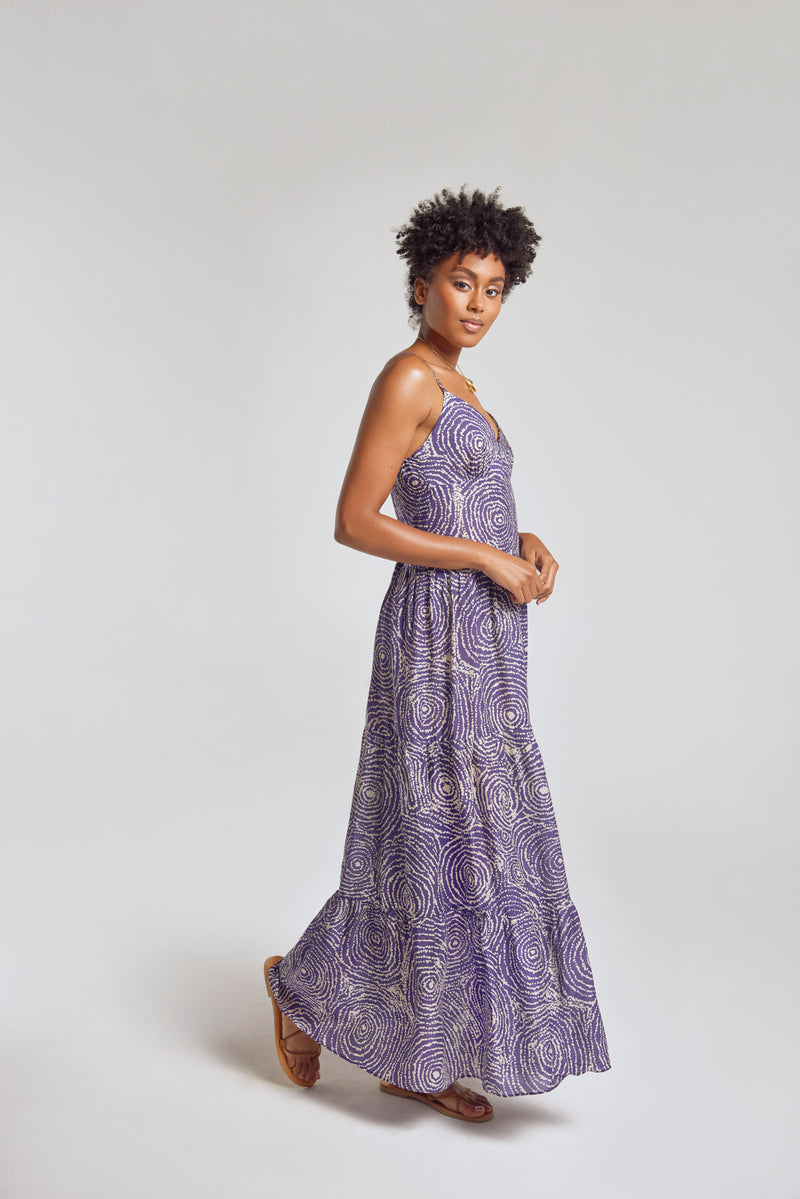 Sanctuaire-Hope-For-Flowers-navy-pointillist-swirl-tiered-maxi-slip-dress