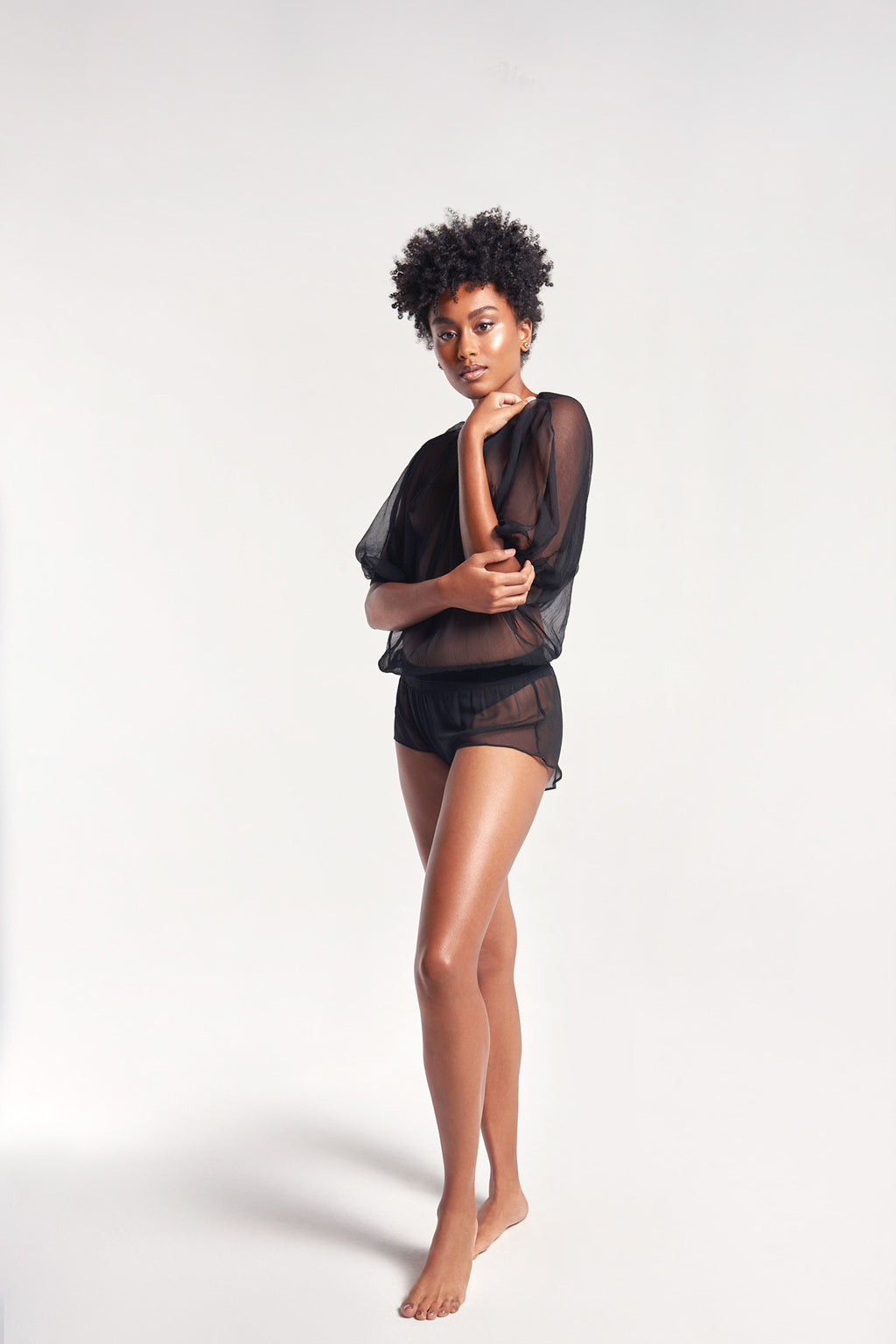 Sanctuaire-Suzy-Black-silk-sleep-shirt-boxer