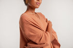 Sanctuaire-soft-deep-v-neck-luxury-kaftan-canyon-color