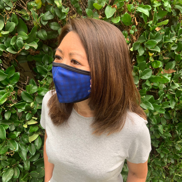 Face Mask - QUIP-LESS - NAVY GINGHAM