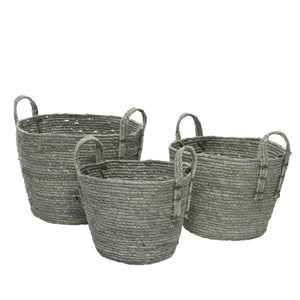 Grey Cornleaf Basket w/ Handles