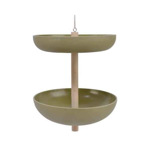 2-Tier Bamboo Fiber Bird Feeder