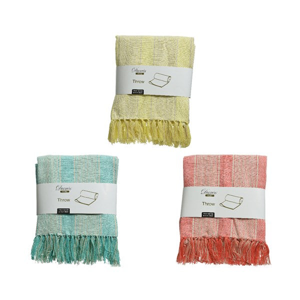 Pastel Striped Cotton Throw