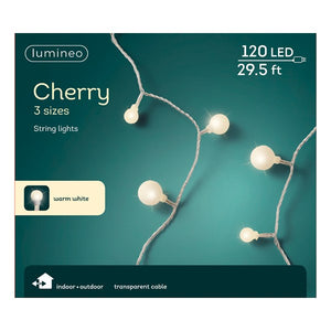 Cherry LED Multi-Sized Round Bulbs, 30ft