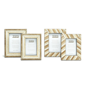 Shades of Brown Natural Cowhide Hand-Stitched Photo Frames