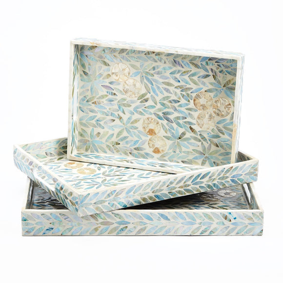 Palawan Flower Mother of Pearl Lacquered Trays