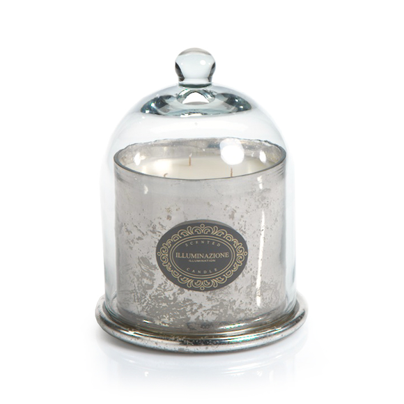 Wax Filled Mercury Glass Jar with Cloche