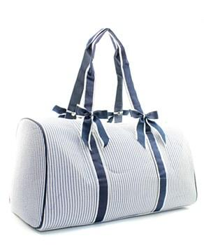 Seersucker Shoulder Duffel Bag