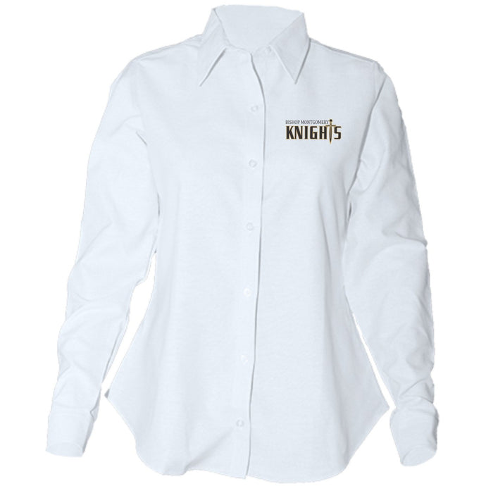 Women's Fitted Long Sleeve Oxford Shirt w/Bishop logo