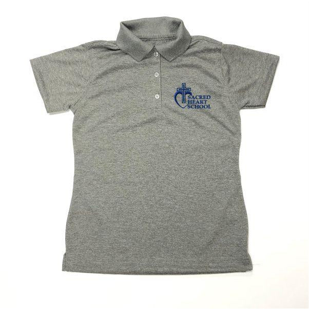 Girls Fitted Dri Fit Polo w/Sacred Heart logo