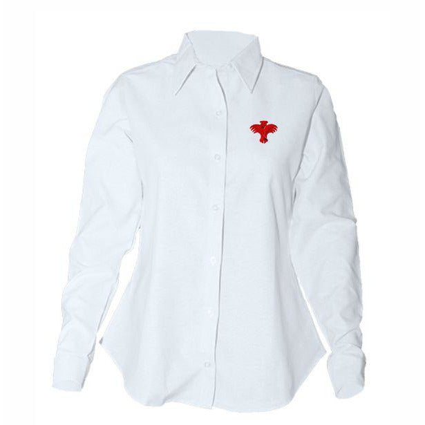 Women's Fitted Long Sleeve Oxford Shirt w/PVS logo