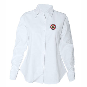 Women's Fitted Long Sleeve Oxford Shirt w/Holy Innocents logo