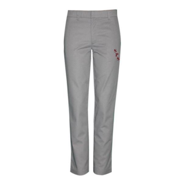 Girl's Flat Front Pants - Grey w/ St. Philomena logo