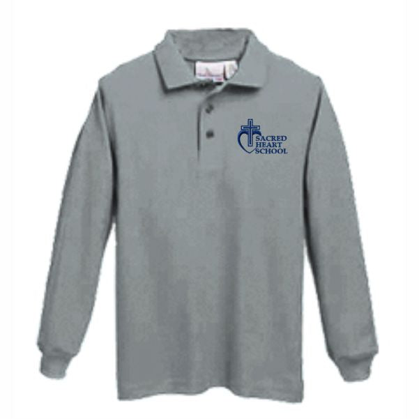 Long sleeve Knit Polo w/Sacred Heart logo