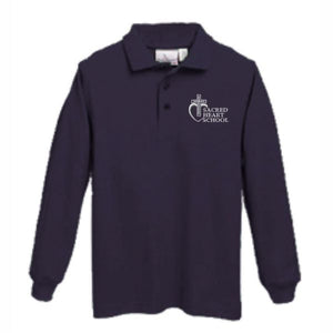Long sleeve Knit Polo w/Sacred Heart logo (Preschool)