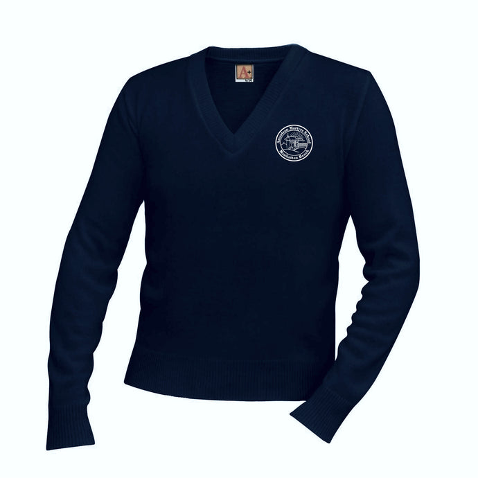 V-Neck Sweater w/ American Martyrs logo