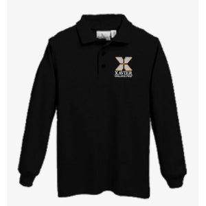 Knit Long Sleeve Polo w/Xavier logo