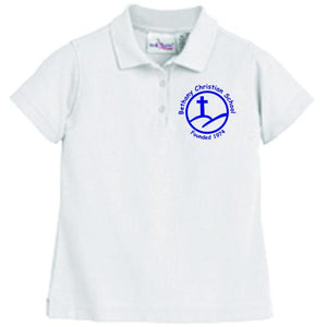 Girls Fitted Knit Polo w/Bethany logo