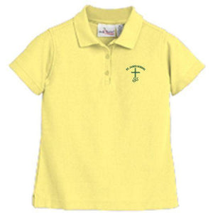 Girls Fitted Knit Polo w/ St. James logo