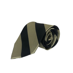 Tie - Khaki/Black Striped Xavier