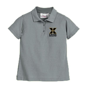 Girls Fitted Knit Polo w/Xavier logo