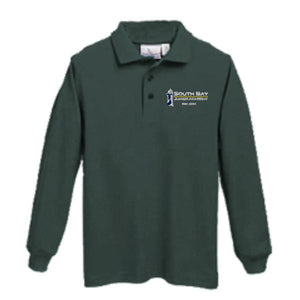 Long sleeve Knit Polo w/ South Bay Christian School embroidered logo
