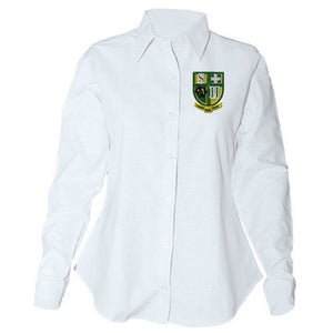 Women's Fitted Long Sleeve Oxford Shirt w/Hilary logo (Grades 5-8)