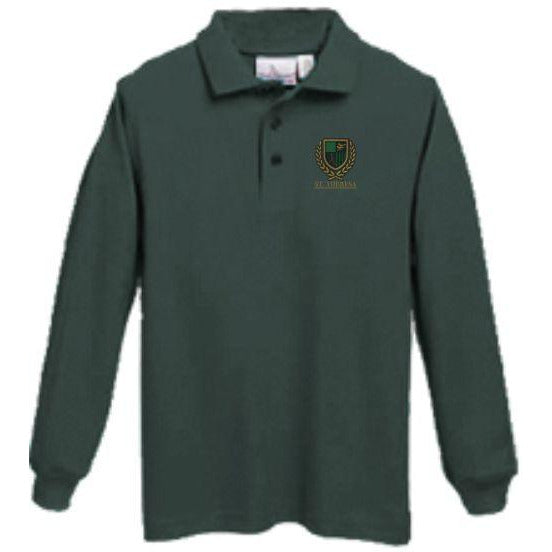 Long Sleeve Knit Polo w/ St. Theresa logo