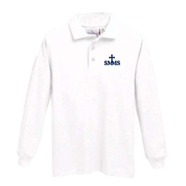 Long Sleeve Knit Polo w/ St. Margaret Mary logo