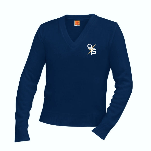 V-Neck Sweater w/Christ Lutheran logo