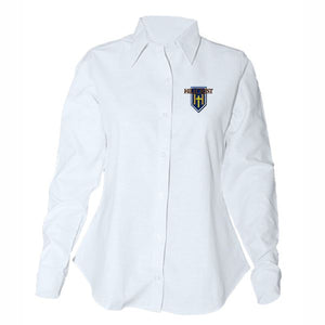 Women's Fitted Long Sleeve Oxford Shirt w/Hillcrest logo (Grades 4-12)